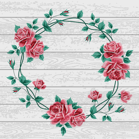 Wreath of  hand drawn roses on wood background. Vector illustration
