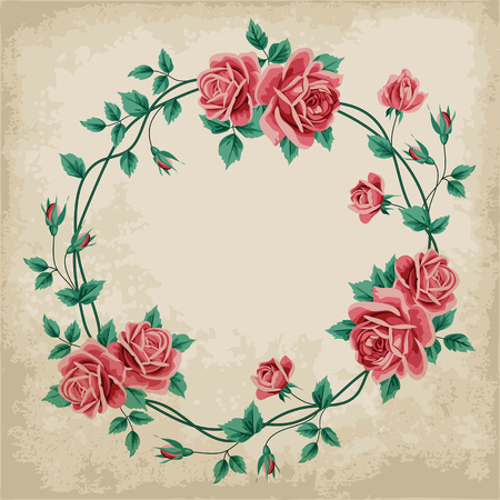 old paper background: Wreath of  hand drawn roses on old paper background. Vector illustration Illustration