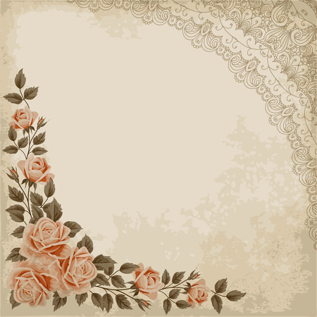 Retro background with colorful roses, lace corner and old paper. Shabby chic vector illustration.