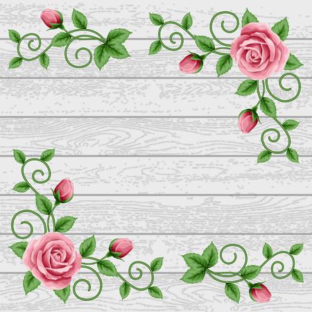 Wood background with decorative floral design elements. Place for your text. Greeting card, invitation template Иллюстрация