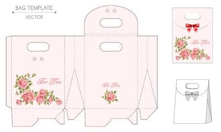 bolsa de regalo: Vector plantilla bolsa de regalo con dise�o floral. Estampar