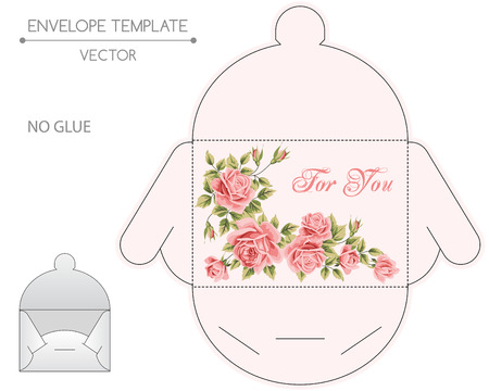 Vector envelope template with floral design. Die-stamping