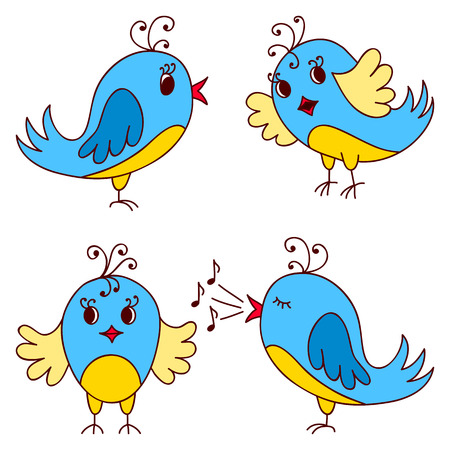 zoo youth: Set of hand drawn cute birds. Funny vector illustration Illustration