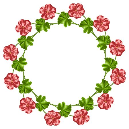 Wreath of  hand drawn geraniums on white background. Place for your text.  Invitation, greeting card template. Vector illustration