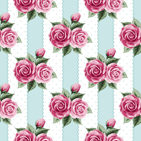 Vintage seamless pattern with colorful roses, stripes and dots.  Ilustração