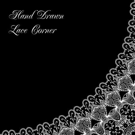 tatting: Hand drawn lace corner, vector monochrome background in retro style