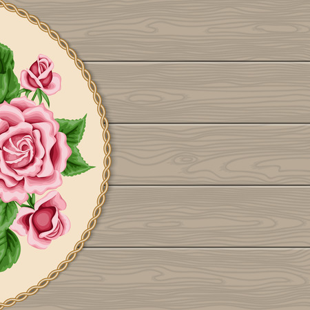 decorative frame: Wood background with roses and decorative frame
