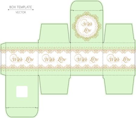 box design: Vintage gift box design with lace borders.  Illustration