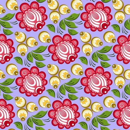 russian pattern: Seamless russian floral pattern. Russian handicraft. Gorodets painting. Vector illustration Illustration