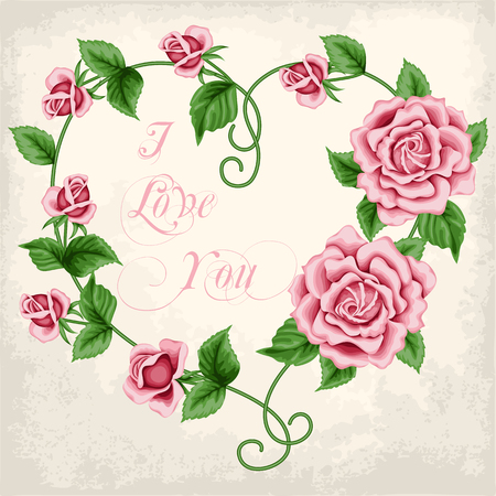 Wreath of  hand drawn roses on old paper background. In the shape of heart. Vector illustration Illustration
