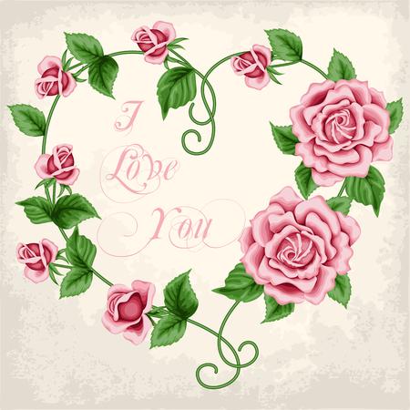 old paper background: Wreath of  hand drawn roses on old paper background. In the shape of heart. Vector illustration Illustration