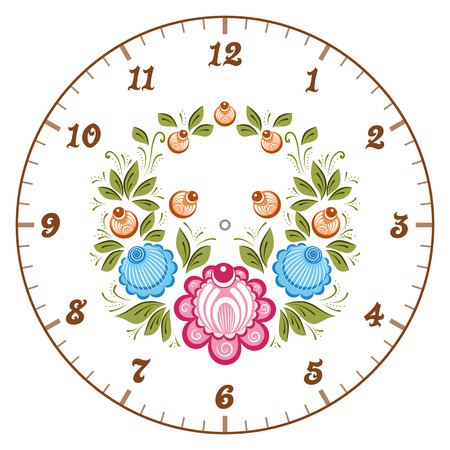 handicraft: Clockface in the Russian style. Russian handicraft Gorodets painting. Vector illustration Illustration