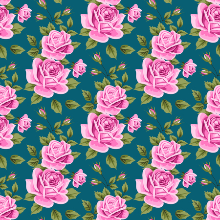 Seamless pattern with pink roses and leaves on deep blue background. Vector illustration in retro style.