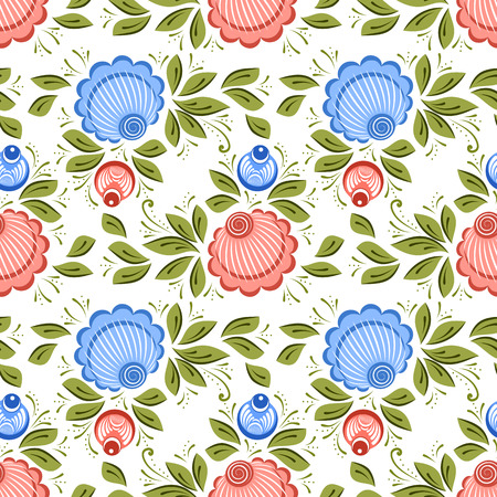 Seamless russian floral pattern. Russian handicraft. Gorodets painting. Vector illustration Illustration