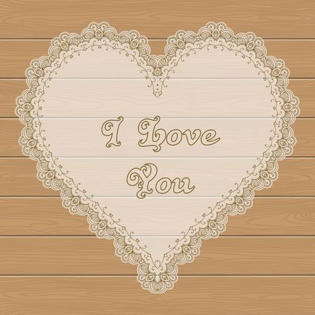 wedding couple: Template frame design in shape of heart for greeting card on wooden background