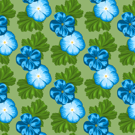 Floral seamless pattern with geraniums. Hand drawn vector illustration