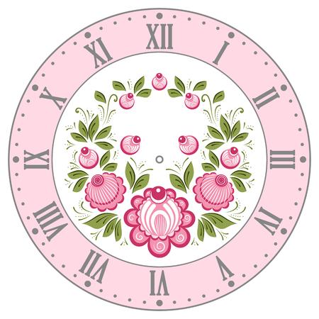 clockface: Clockface in the Russian style. Russian handicraft Gorodets painting. Vector illustration Illustration