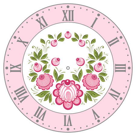 rekodzielo: Clockface in the Russian style. Russian handicraft Gorodets painting. Vector illustration Ilustracja