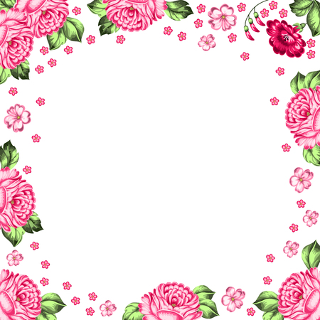 handicraft: Vector floral background in Russian style. Russian handicraft Zhostovo painting. Place for your text
