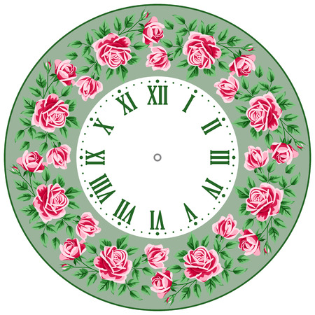 vintage clock: Vintage clock face with roses. Shabby chic vector illustration
