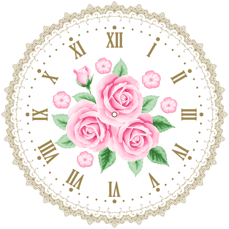 Vintage clock face with roses. Shabby chic vector illustration Stock Vector - 44515118
