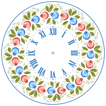 handicraft: Clock face in the Russian style. Russian handicraft Gorodets painting. Vector illustration Illustration