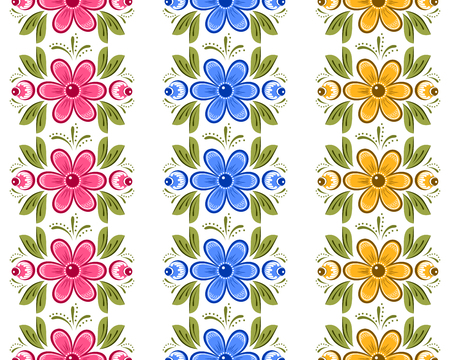 rekodzielo: Set of floral seamless ornamental borders in Russian style. Russian handicraft Gorodets painting. Vector illustration