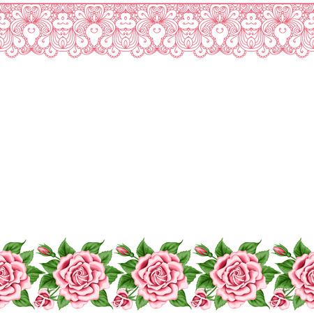 Background with hand drawn roses and lace borders in retro style. Greeting card, invitation template. Vector illustration