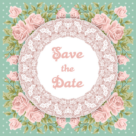 polkadot: Vintage wedding invitation with hand drawn roses, lace round border and polka-dot background. Save the date design. Vector illustration Illustration