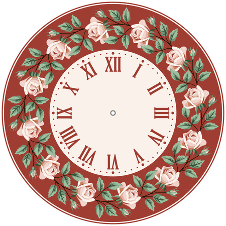 brick red: Vintage clock face with hand drawn colorful roses on brick red background. Shabby chic vector illustration