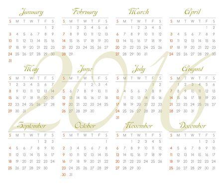 scheduler: Calendar for 2016. Week starts from Sunday. Vector illustration Illustration