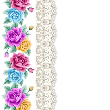 cartoline vittoriane: Sfondo con rose disegnate a mano e bordi di pizzo in stile retrò. Biglietto di auguri, modello di invito. Illustrazione vettoriale