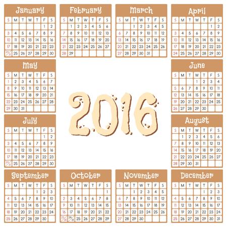 Calendar for 2016. Week starts from Sunday. Vector illustration Illustration