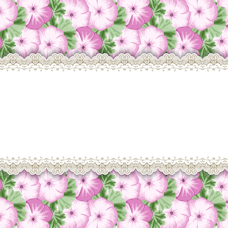 Wood background with hand drawn geraniums. Place for your text. Greeting card, invitation template