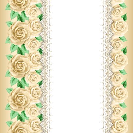 Sfondo con rose disegnate a mano e bordi di pizzo in stile retrò. Biglietto di auguri, modello di invito. Illustrazione vettoriale Archivio Fotografico - 45017208