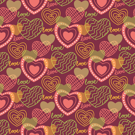 Seamless pattern with doodle stylized hearts and words love. Hand drawn vector illustration