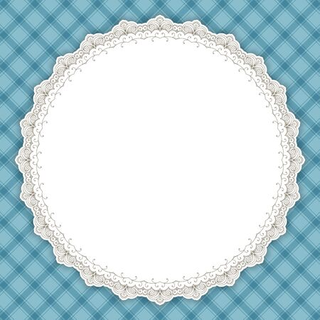 copy space: Retro round lace frame. Vintage design border, light blue gingham background, space for picture, text. For greeting card, invitation, scrapbooks, albums, crafts, decorating
