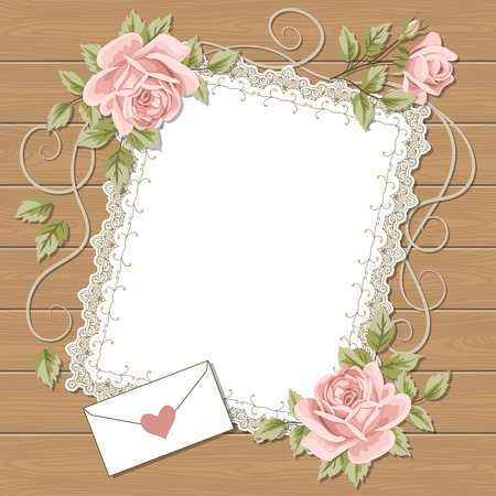 Vintage background with hand drawn roses and square lace frame on wood background.