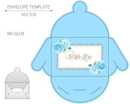 blue roses: Vector envelope template with blue roses and golden lace frame.  Illustration