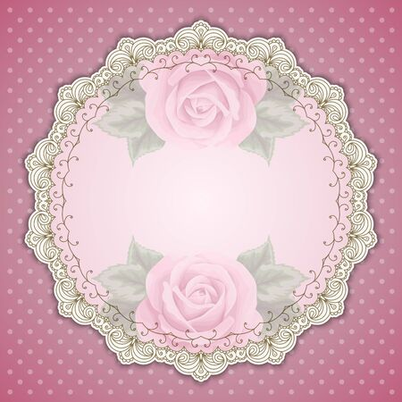 polkadot: Retro round lace frame. Vintage design border, pastel pink polka-dot background with roses, space for picture, text. For greeting card, invitation, scrapbooks, albums, crafts, decorating