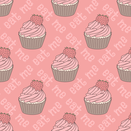 eat me: Seamless pattern with doodle cupcakes and text eat me. Hand drawn vector illustration
