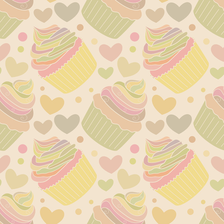 Seamless pattern with doodle cupcakes and hearts. Hand drawn vector illustration