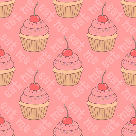 Seamless pattern with doodle cupcakes and text eat me. Hand drawn vector illustration