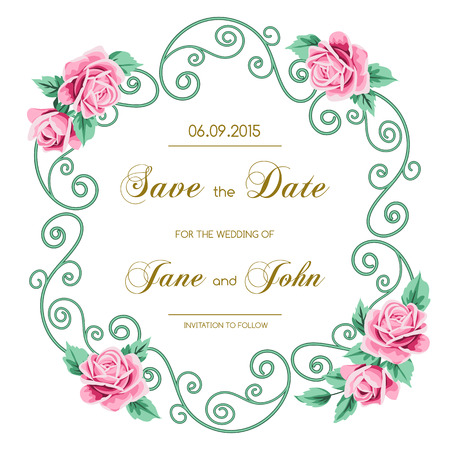Vintage wedding invitation with roses invitation template with vintage wedding invitation with roses invitation template with floral curling wreath save the date stopboris Images