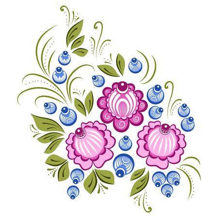 handicrafts: Vector floral ornament in the Russian traditional style. Gorodets painting Illustration