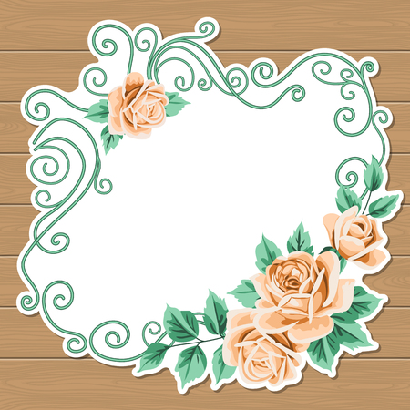 Wood background with hand draw floral wreath. Vintage roses. Shabby chic vector illustration. Invitation, greeting card template. Place for text
