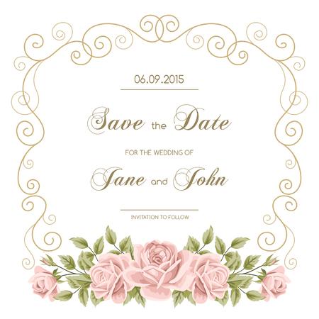 婚禮: 復古婚禮請柬玫瑰。邀請函模板金冰壺框架。保存最新的設計。矢量插圖