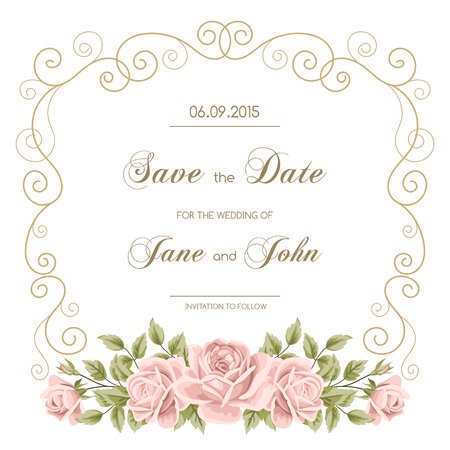 Vintage wedding invitation with roses. Invitation template with gold curling frame. Save the date design. Vector illustration
