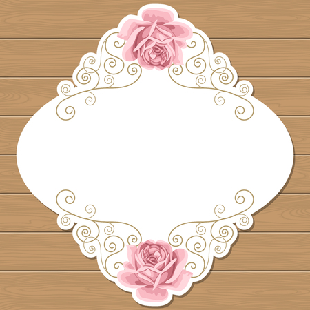 Wood background with hand draw roses and gold curly oval frame. Shabby chic vector illustration. Invitation, greeting card template. Place for text