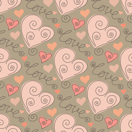 Seamless pattern with doodle stylized hearts ond words love. Hand drawn vector illustration Illustration